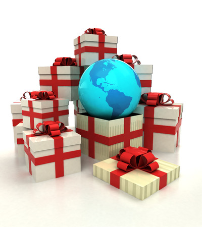 isolated group of christmas gift boxes with America earth globe revelation illustration illustration