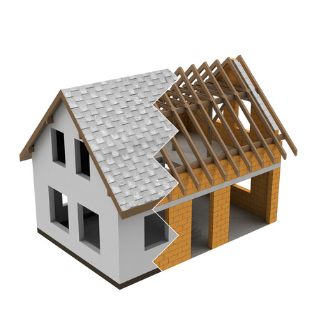 rafter: zigzag section of two house building stages illustration Stock Photo