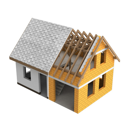 rafter: tinny roofing construction design transition illustration Stock Photo