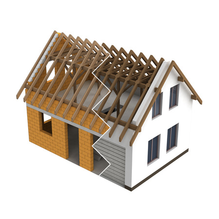 rafter: timbered construction house design zigzag transition illustration Stock Photo