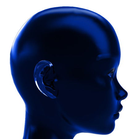 blue profile view on human head in calm blue emotions illustration illustration
