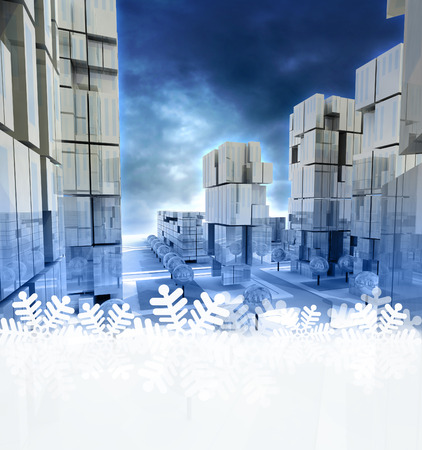 alighted: Modern blue alighted city at evening with snowflake frame down illustration