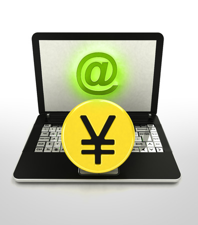 yuan: internet surfing and search info about yuan currency business illustration