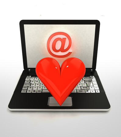 finding love: internet surfing and search info and finding love illustration Stock Photo