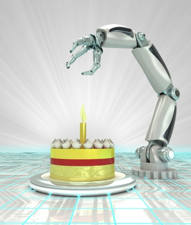 cybernetic automatic robotic hand technology celebration render illustration illustration