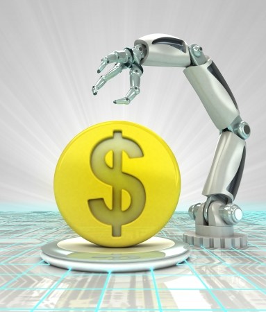 Dollar coin investment to robotic hand use in modern industries render illustration illustration
