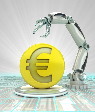 Euro coin investment to robotic hand use in modern industries render illustration illustration