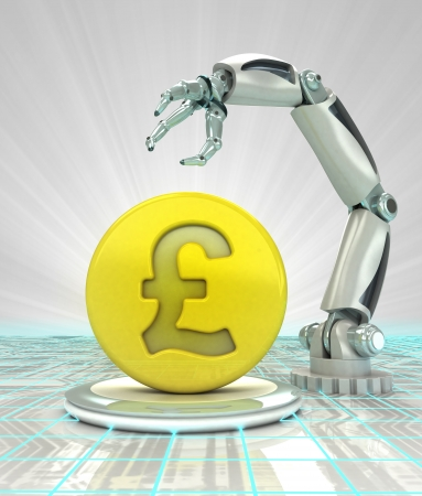 Pound coin investment to robotic hand use in modern industries render illustration illustration