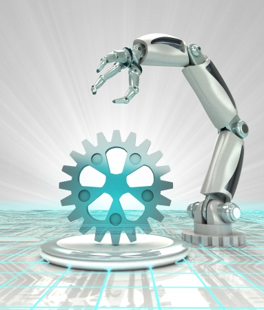 cybernetic robotic hand creation in modern automated industries render illustration