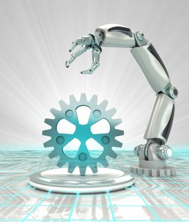 Kybernetischen Roboter Schaffung Hand in modernen automatisierten Branchen-Render Illustration Standard-Bild - 23938025