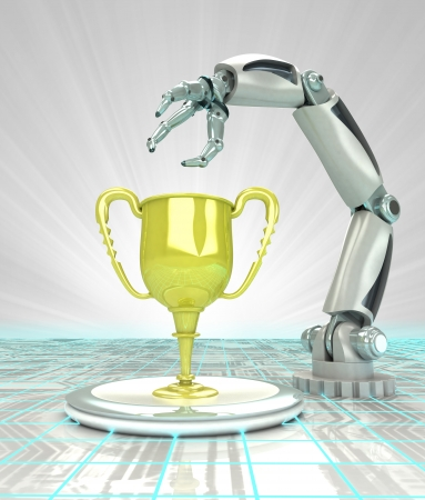 cybernetic robotic hand creation as a modern technological champion render illustration illustration