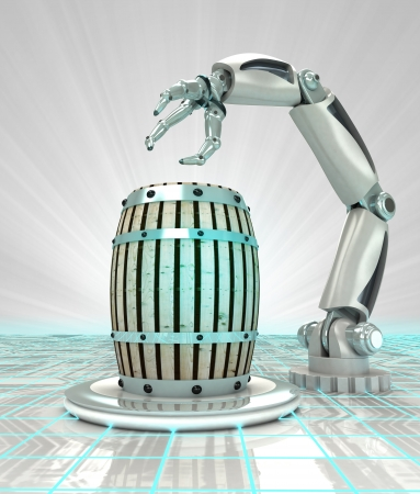 robotic hand creation of new kind of beverage render illustration illustration