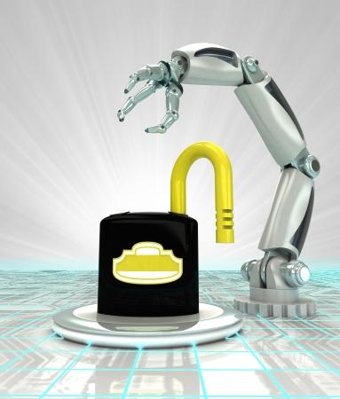 robotic hand unprotected inventios in futuristic industry render illustration illustration