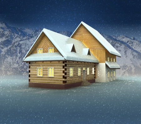 alighted: Old cottage and window lighting at night snowfall illustration Stock Photo