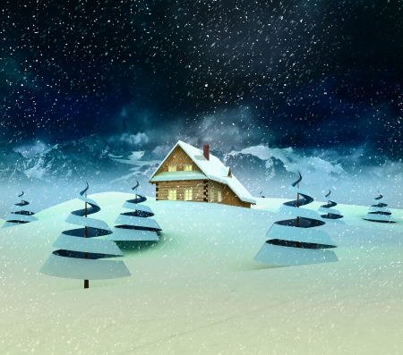 accomodation: Mountain cottage in winter landscape with snowfall illustration Stock Photo
