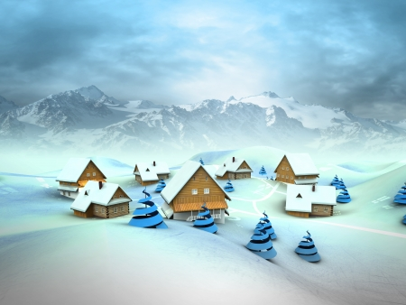 Winter village general view with high mountain landscape illustration illustration