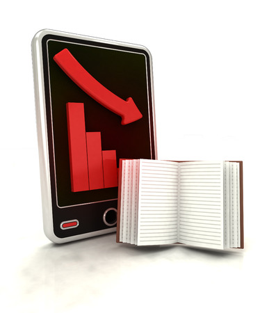 descending graph of negative knowledge stats on smart phone display illustration illustration