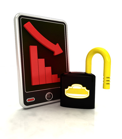 descending graph in safety stats on smart phone display illustration illustration