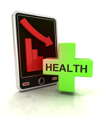 descending graph of health stats on smart phone display illustration illustration