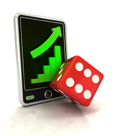 increasing graph stats with lucky dice on smart phone display illustration