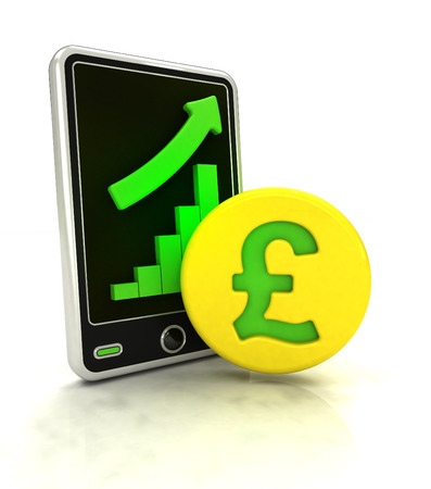 increasing graph stats of pound currency business on smart phone display  illustration illustration