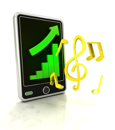 music production: increasing graph stats of music production on smart phone display illustration