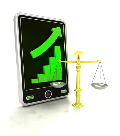 increasing graph stats of fair trade on smart phone display illustration illustration