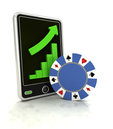 increasing graph of bet game industry on smart phone display illustration