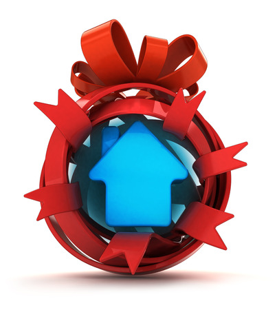 opened red ribbon gift sphere with house icon inside illustration illustration