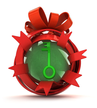 opened red ribbon gift sphere with green key inside illustration illustration