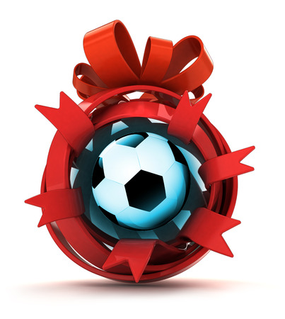 opened red ribbon gift sphere with football ball inside illustration illustration