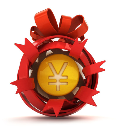 opened red ribbon gift sphere with golden Yen coin inside illustration Stock Photo