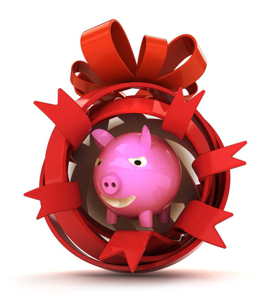 opened eye: opened red ribbon gift sphere with pink pig inside illustration Stock Photo