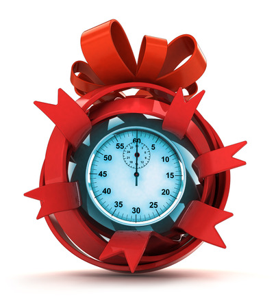 opened red ribbon gift sphere with blue stopwatch inside illustration illustration