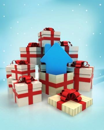 No�l coffrets cadeaux avec nouvelle maison surprise chutes de neige de l'hiver illustration photo