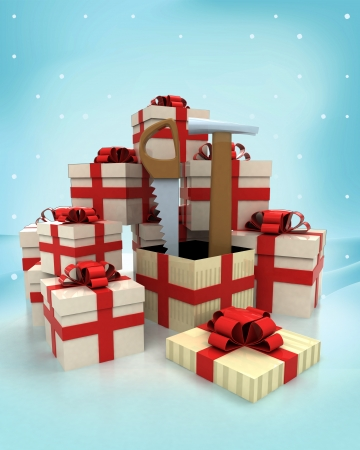 dyi: christmas gift boxes with new tools surprise at winter snowfall illustration Stock Photo