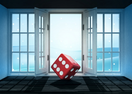rolling landscape: open doorway with red dice and winter landscape scene behind illustration Stock Photo