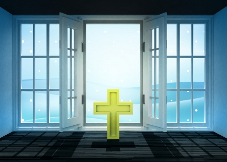 godness: open doorway with religious cross and winter landscape scene behind illustration