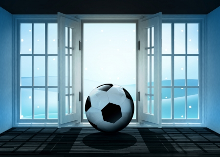 open doorway with soccer ball and winter landscape scene behind illustration illustration