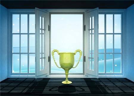 winter scene: open doorway with trophy and winter landscape scene behind illustration Stock Photo