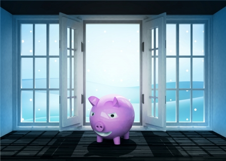 open doorway with happy pig and winter landscape scene behind illustration illustration