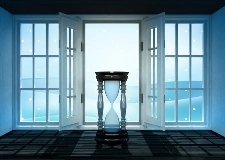 winter scene: open doorway with hourglass and winter landscape scene behind illustration Stock Photo