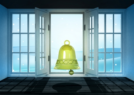 open doorway with bell and winter landscape scene behind illustration illustration
