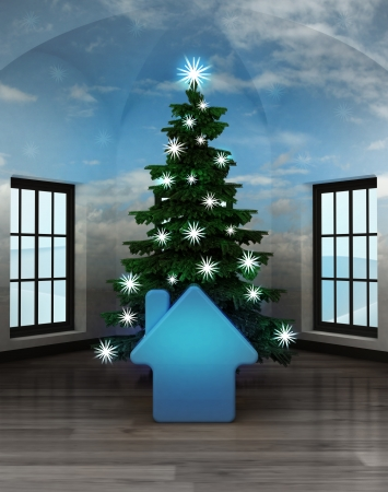 heavenly room with blue house icon under glittering xmas tree illustration illustration