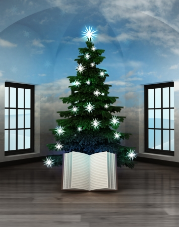 heavenly room with story book under glittering xmas tree illustration illustration