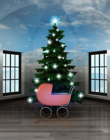 heavenly room with baby carriage under glittering xmas tree illustration illustration