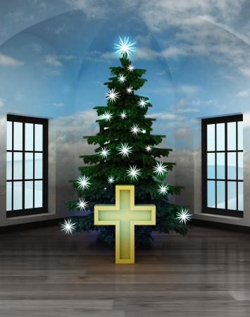 godness: heavenly room with golden cross under glittering xmas tree illustration Stock Photo