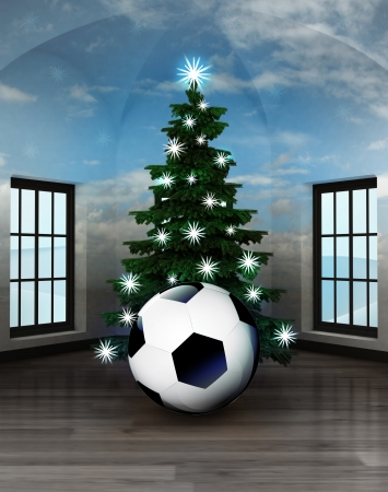 heavenly room with soccer ball under glittering xmas tree illustration illustration