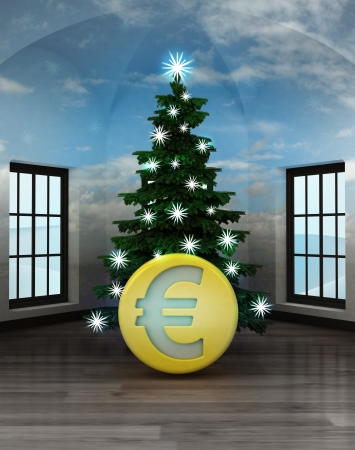 currency glitter: heavenly room with Euro coin under glittering xmas tree illustration Stock Photo