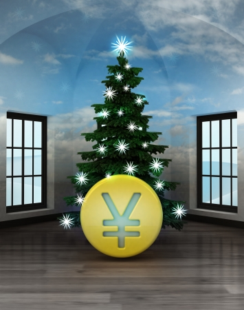 yuan: heavenly room with Yuan coin under glittering xmas tree illustration